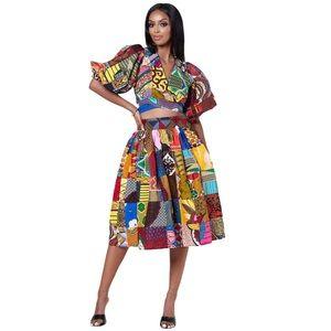Grass-Fields African Print Patchwork Midi Skirt